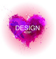 watercolor stain made in shape of heart valentine vector image vector image