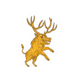 Wild Boar Razorback With Antlers Prancing Drawing vector image