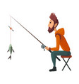 young fisherman seating with fish rod pulls out vector image vector image