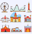 amusement park flat elements isolated on vector image