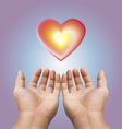 Red heart floating on two hand with purple vector image