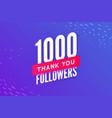 1000 followers greeting social card thank vector image vector image