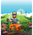 a lumberjack cutting trees near mountain vector image