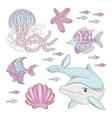 aqua world underwater sea ocean animal cartoon vector image vector image