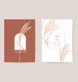 art deco modern wedding invitation pampas grass vector image vector image