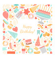 birthday card with sweets cake and candles vector image