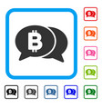 bitcoin chat framed icon vector image vector image