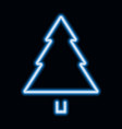 blue neon christmas tree pine tree icon vector image vector image