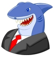 Business shark cartoon vector image