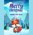 cartoon bright funny fox vector image vector image