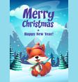 cartoon bright the funny fox vector image vector image