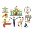 Circus Decorative Flat Icons Set vector image