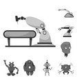 design of robot and factory sign vector image vector image