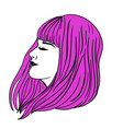female long haircut pink with bangs isolate vector image vector image