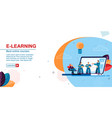 flat banner e-learning best online courses vector image vector image