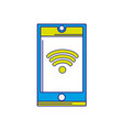 full color smartphone technology with wifi vector image vector image