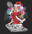 girl santa claus christmas dj party artwork vector image vector image