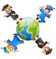 graduates kids standing around the earth vector image