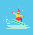 happy boy snowboarder sliding down the hill vector image vector image