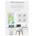 Interior design Modern workspace banner 9 vector image vector image