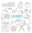 laundry service hand drawn doodle icons set vector image vector image