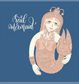 line art hand drawing of mermaid with hand vector image