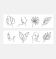 line style portrait leaf with female vector image vector image