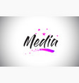 media handwritten word font with vibrant violet vector image vector image