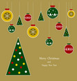merry christmas poster or flyer christmas tree vector image vector image