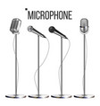 microphone set with stand music icon vector image vector image