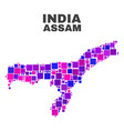 mosaic assam state map of square elements vector image vector image