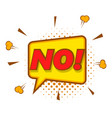 no speech bubble icon pop art style vector image vector image