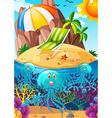 Ocean scene with jellyfish underwater vector image vector image