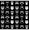 pattern with black and white owls vector image