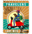 postage stamp lady with a dog on a motorcycle vector image