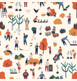 seamless pattern with people pick autumn harvest vector image vector image