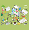 seo audit flat isometric concept vector image vector image