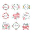 Set of flower shop logo design colorful vector image