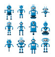 set of robots in flat cartoon style cute vector image