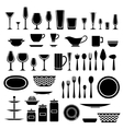 Set of silhouettes of cookware and kitchen vector image