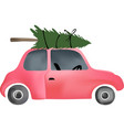 small red vintage car and christmas tree vector image vector image