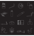 smoking and cirarettes simple outline icons set vector image