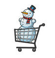 snowman in shopping cart sketch engraving vector image