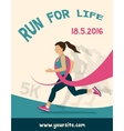 Sport Woman with Running Pink Ribbon Breast vector image vector image