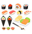 sushi collection asia food icons vector image