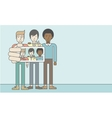 Three happy men taking selfie vector image vector image