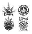 vintage monochrome cannabis logotypes set vector image vector image