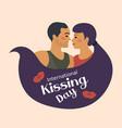 world kiss day postcard international kissing day vector image vector image