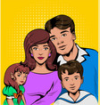 portrait of young family and children vector image
