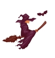 Halloween witch with bat flying to party vector image